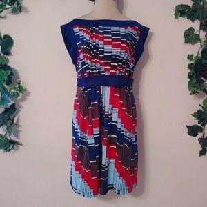 2/$15 BCBGMAXAZRIA Pleated Multicolor Mini Dress